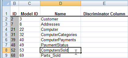 Update columns name in Excel