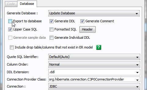 Uncheck on export to database