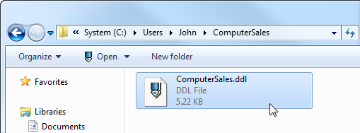 Open generated update database script