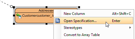 Open entity specification dialog