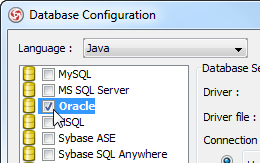 Select Oracle database in ORM