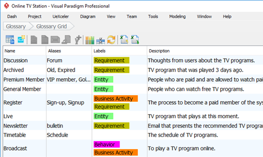 Define project vocabulary with Glossary Grid