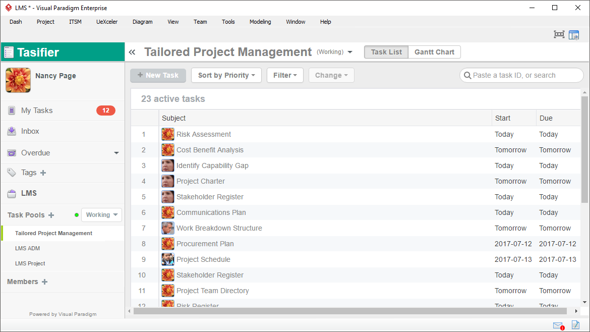 Task Management for Process Activities