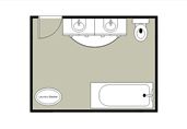 Simple bathroom layout floor plan template