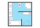 Square bathroom layout floor plan template