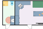Small home office with bathroom floor plan template