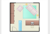 Square home office floor plan template