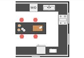Kitchen with center island floor plan template