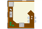 Kitchen with island floor plan template