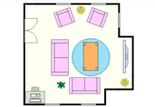 Cozy living room floor plan template