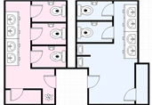 Public restrooms floor plan template