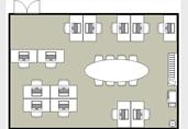 Open work office floor plan template