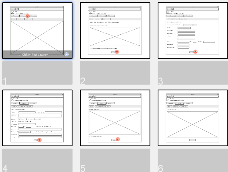Wireframes in storyboard