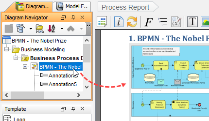 Report Design in BPMN Tool