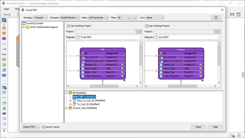 Using Visual Diff on ERD