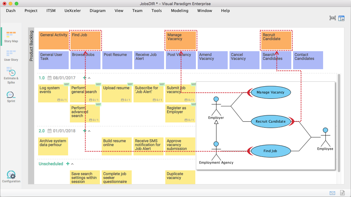 Creating product backlog from use case model