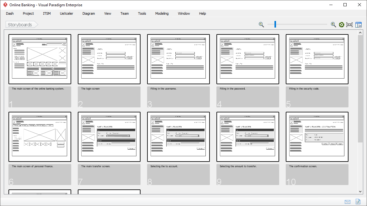 Storyboard tool allows you to put together relevant wireframes