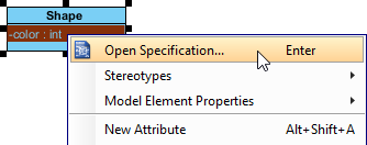 Open attribute specification