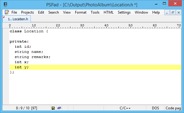 editing cpp file