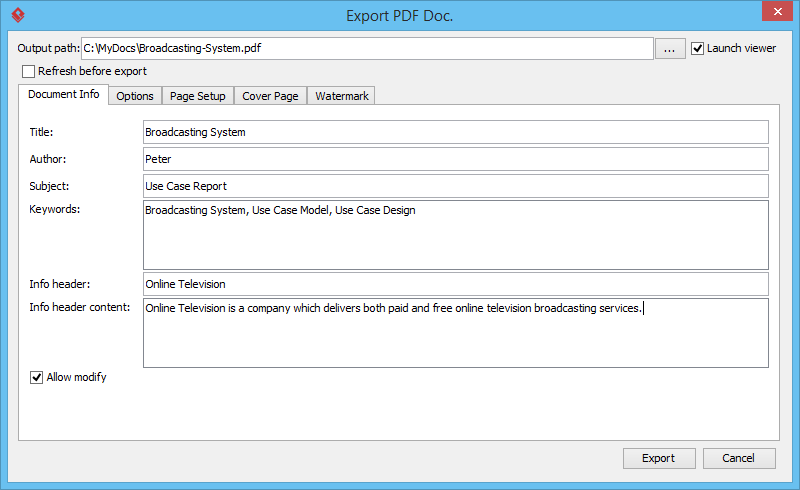 Export PDF Doc window