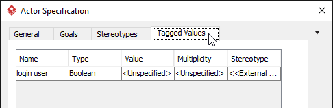 OPen tagged value tab