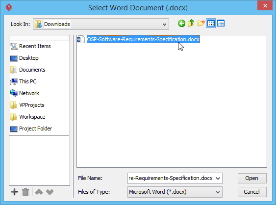 Select document file