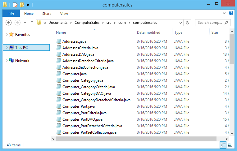 File list of generated code