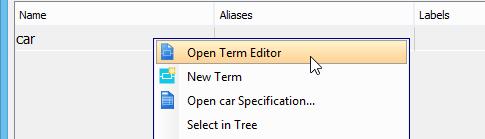 Opening term editor
