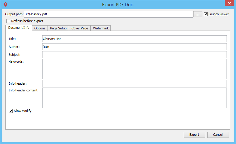 Export PDF Document Window