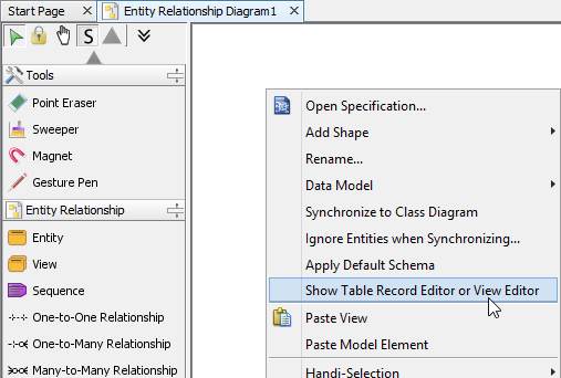Show table record editor