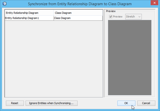 Synchronize to Class Diagram window