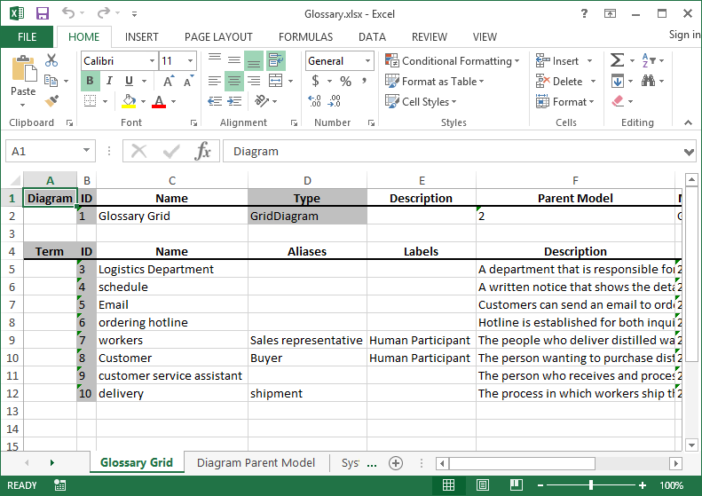 excel exported