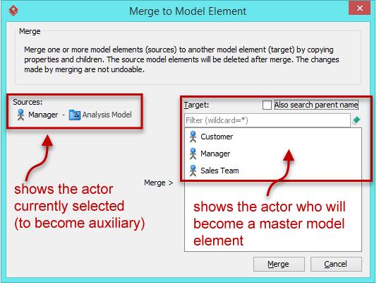 Merge to Model Element dialog box