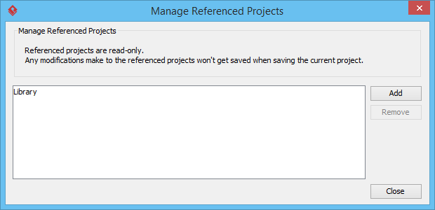 Manage referenced project window