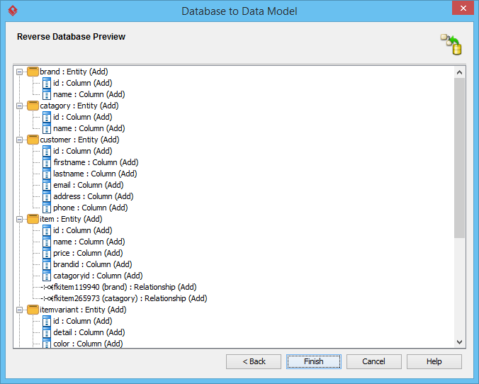 Reverse database preview