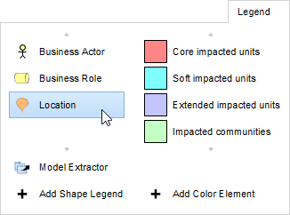 Selecting location from shape legend