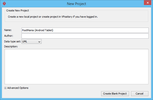 Create blank project