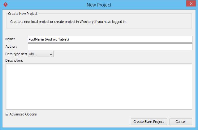 Create blank project