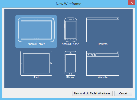 New android tablet wireframe