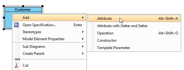 right click to add attribute