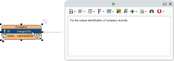 defined columns in company entity