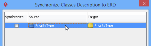 synchronize class documentation dialog box