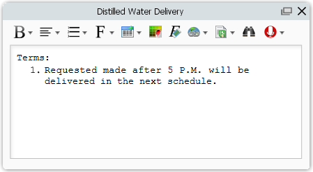 describe distilled water delivery contract